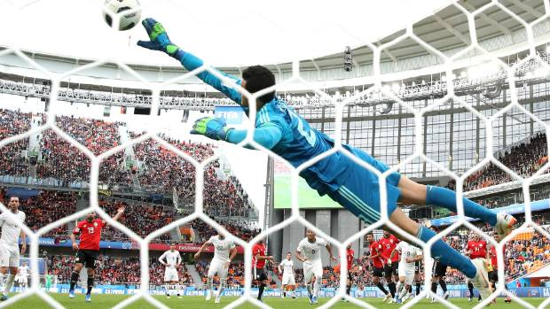 JUNE 15 Mohamed Elshenawy of Egypt makes a save against Uruguay