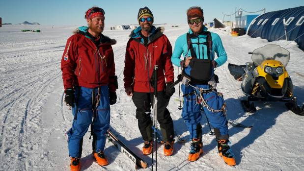 Leo (left), Mark (centre) and Jean back at Union Glacier after 55 days without a shower.