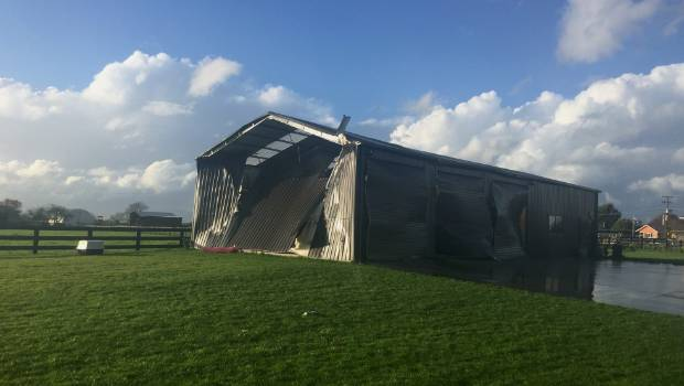 The tornado also hit this shed but missed the nearby house.