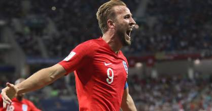 Harry Kane celebrates after scoring his side's second goal in stoppage time.