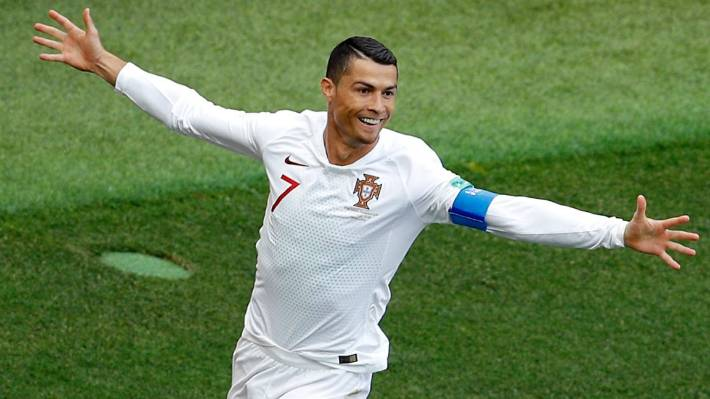 Portugal s Cristiano Ronaldo celebrates after scoring his fourth goal of  the 2018 Fifa World Cup in b8e2199eb