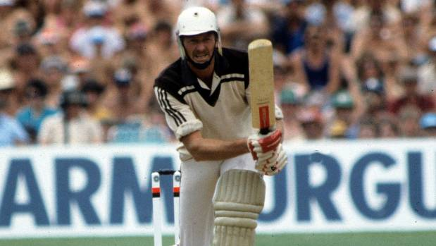 New Zealand's Jeremy Coney batting against Pakistan.