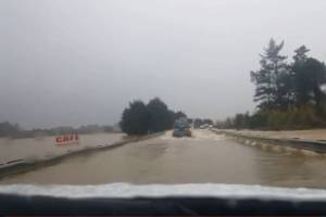 The wild weather lead to State highway 1 almost becoming submerged.