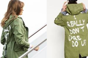 Melania Trump boarded a flight to Texas wearing a green military-style jacket (pic on the right taken from fashion ...