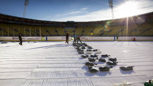 Preparations continue for an ice hockey match at Westpac Stadium on Saturday.