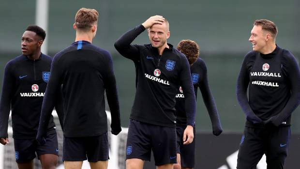 Danny Welbeck John Stones Eric Dier Dele Alli and Phil Jones take part in an England training session in St Petersburg