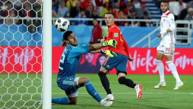 Spain held by Morocco but Iago Aspas goal ensures they face Russian Federation