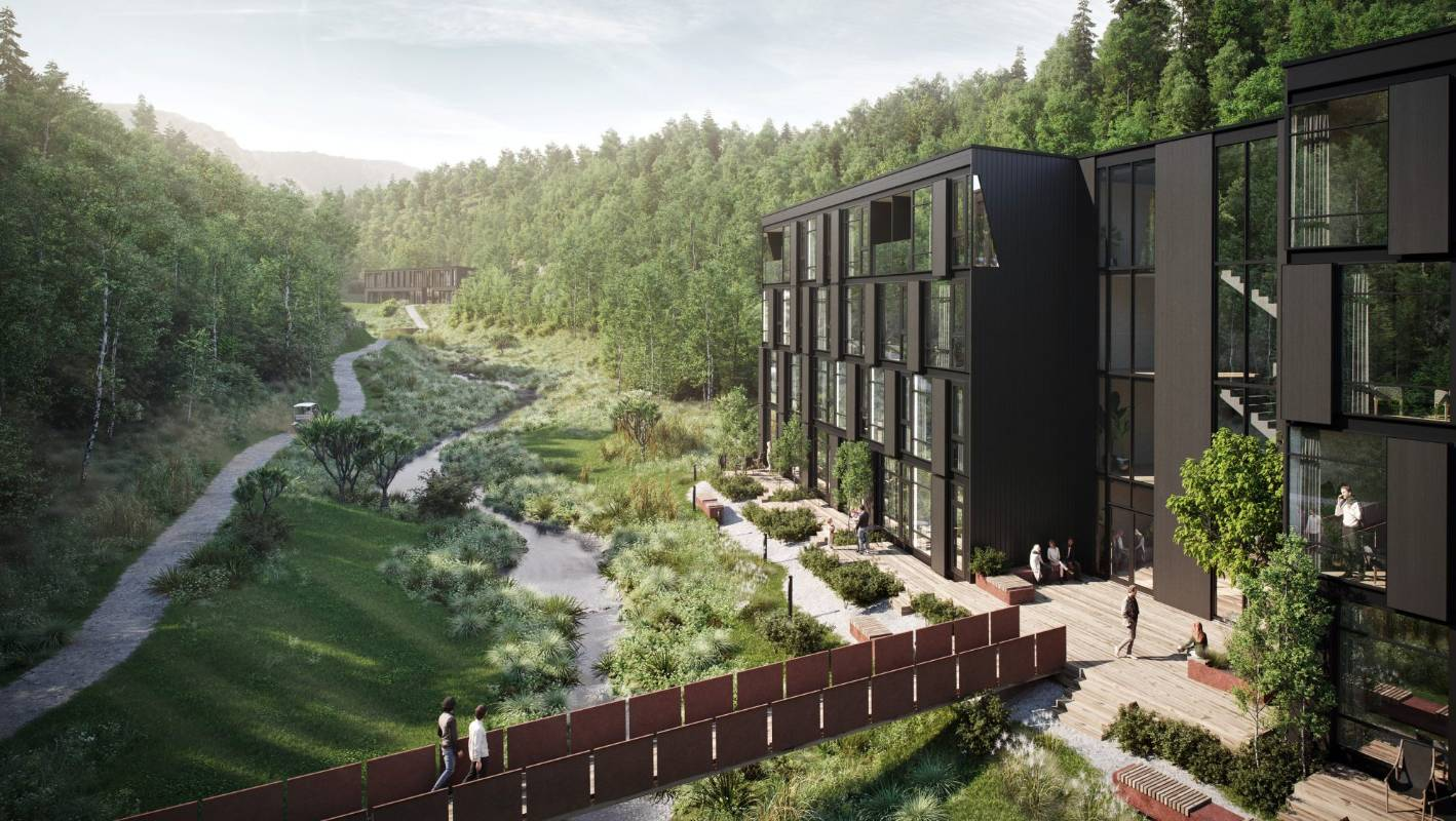 controversial waterfall park hotel complex near queenstown