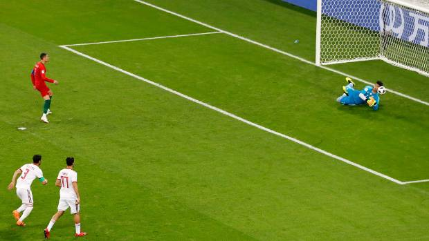 Iran goalkeeper Alireza Beiranvan makes the most talked about save of the World Cup so far