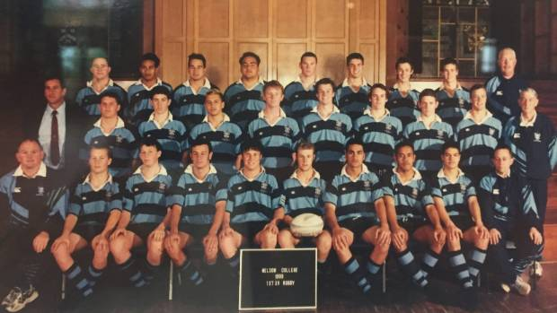 Where Crockzilla learned to roar - the 1999 Nelson College First XV.  All Black prop Wyatt Crockett is third from left in the front row, while Tasman Mako assistant coach Andrew Goodman is directly behind.