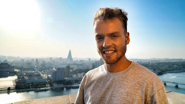 Indigo Traveller and YouTube success Nick Fisher, 26, of Wanaka standing on top of the tower in Pyongyang, North Korea.