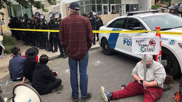 Eight people were arrested outside an ICE building in Portland Oregon that has been closed because of