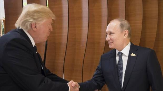 US President Donald Trump met Russian President Vladimir Putin at the opening of the G20 summit in July 2017 in Hamburg