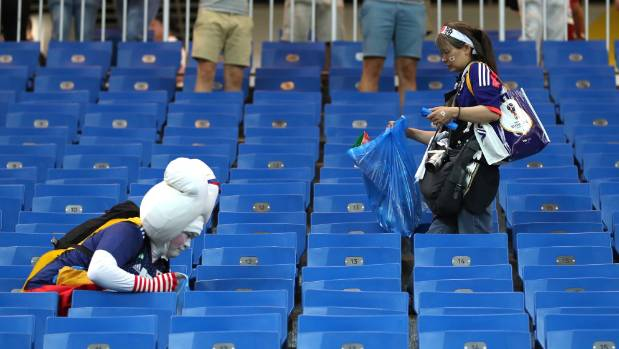 Japan fans again helped clean up despite losing so dramatically in Rostov.