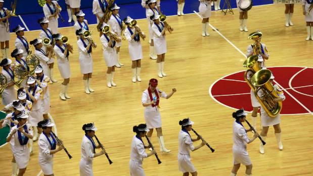 A marching band performs during a South and North Korean friendly basketball game  in Pyongyang, North Korea.