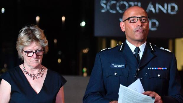 The UK's head of counter-terrorism policing Neil Basu, right, and chief medical officer for England Dame Sally Davies ...