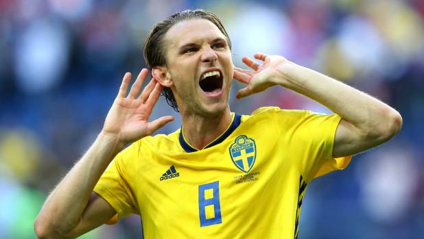 Albin Ekdal celebrates Sweden's victory over Switzerland in the Fifa World Cup round of 16