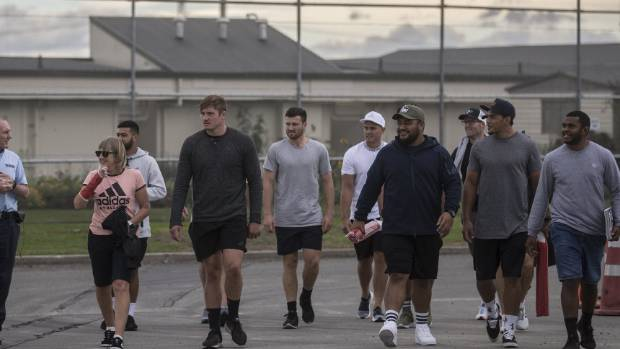 Andrew Makalio (fourth from right) visited Christchurch Men's Prison with some Crusaders team-mates earlier this year.