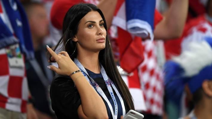 e9cd2a80b29 Domagoj Vida's wife Ivana in the crowd for Croatia's World Cup quarterfinal  win over ...