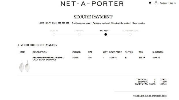 A Net-A-Porter invoice showing the GST