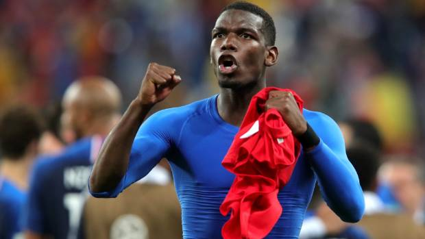Paul Pogba celebrates France's World Cup semifinal win over Belgium