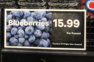 Blueberries were selling for $16 a punnet, according to the post on Facebook.