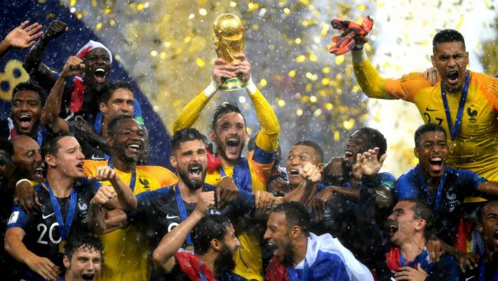 db3f38a8349 France captain Hugo Lloris of France lifts the World Cup trophy as his team -mates