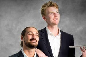Breadcrumbs app co-founders Brendan Platt, left, and Cameron Brodie hope new students in Wellington can settle into ...