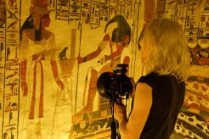 Most of the paintings inside Queen Nefertari's tomb are of her.