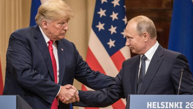 US President Donald Trump and Russian President Vladimir Putin at their controversial joint press conference after their