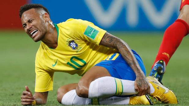 Neymar appears to be injured here but was criticised at the Fifa World Cup for going to ground too easily.