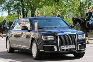 With all it's 'borrowed' Rolls-Royce styling cues, the Aurus Senat is a suitably imposing ride for Vladimir Putin.