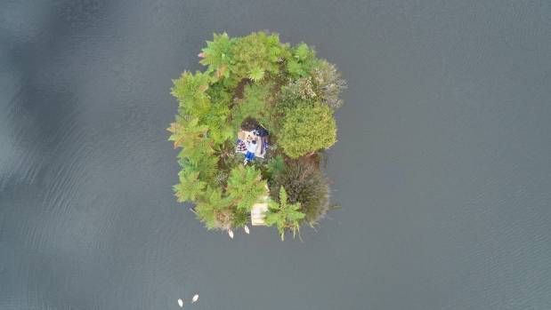 The tiny island on the lake is perfect for picnics.