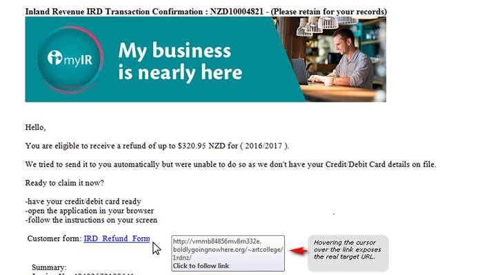 Inland Revenue issues warning about 'sophisticated' phishing scam