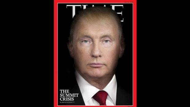 US President Donald Trump and Russian President Vladimir Putin merge in Time's latest cover image