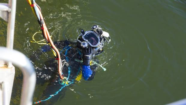 An umbilical cord is attached to the divers so they have constant contact with those on the barges.
