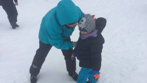 Sue Woods-Markwick and her grandson Keaton, 4, felt constrained in where they could sled at Turoa.
