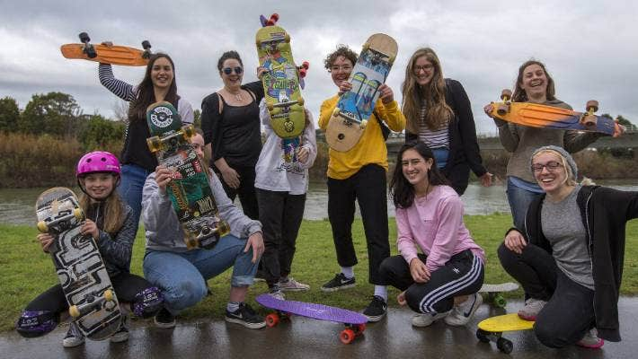 Keen skaters rolled out in the rain at the Chicks Only Riverside Skate Event on Sunday, beside the Manawatū River.