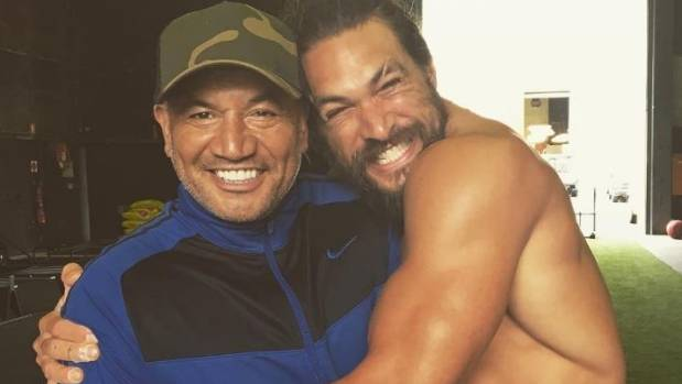 Temuera Morrison with his Aquaman co-star Jason Momoa on the Gold Coast set of the blockbuster last year.