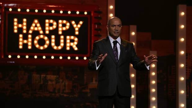 Temuera Morrison hosted the TVNZ variety show Happy Hour in 2014.