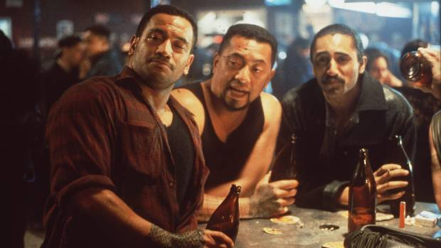 Temuera Morrison, left, with Pete Smith and Cliff Curtis in Once Were Warriors.