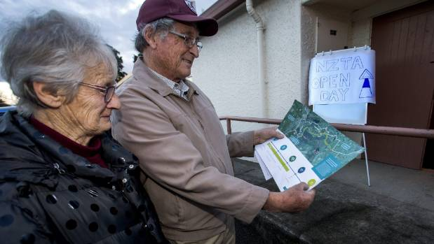 Betty and Athol Sowry, from Valley Rd, Woodville, with the timeline information brochure from the meeting.