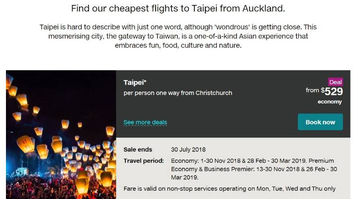 Air New Zealand Has Not Followed Other Airlines In Dropping References To Taiwan On Its Website