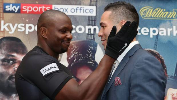 Dillian Whyte reacts to his victory over Joseph Parker