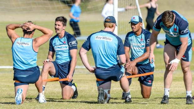 Waratahs players stretch during a training session in Johannesburg during the week
