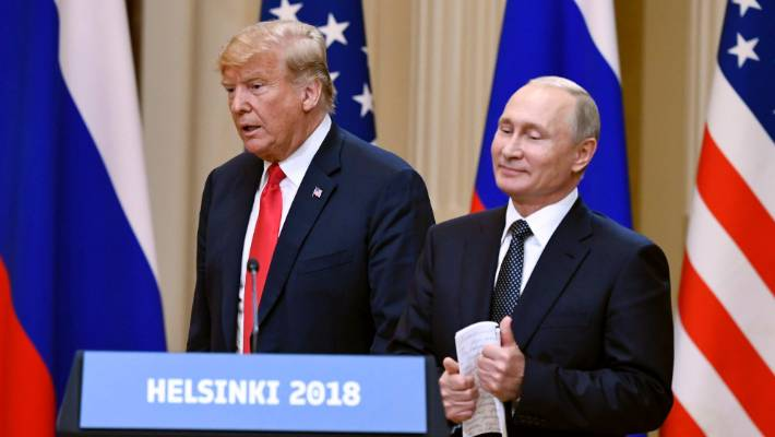 US President Donald Trump and Russian President Vladimir Putin in Helsinki Finland in July 2018