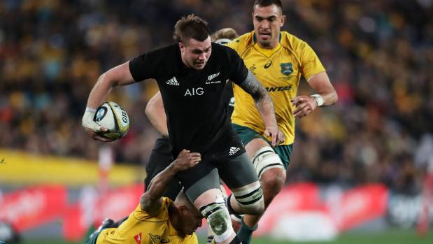 All Blacks No 6 Liam Squire is tackled by Wallabies halfback Will Genia during the test in Sydney last year.