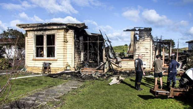 It took firefighters several hours to extinguish a fire that burned this house to the ground in Pātea on Sunday.