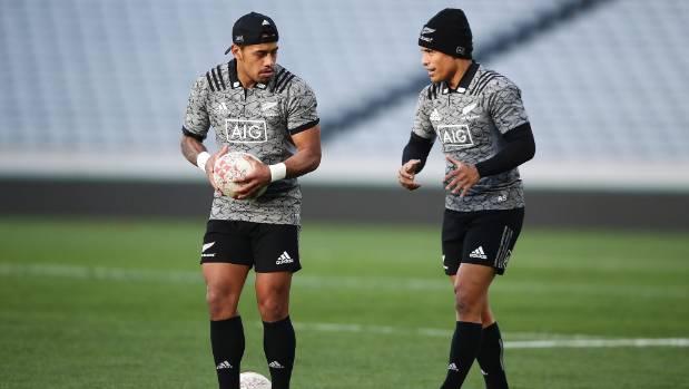 Te Toiroa Tahuriorangi, left, and Aaron Smith run through drills during an All Blacks training session in June.
