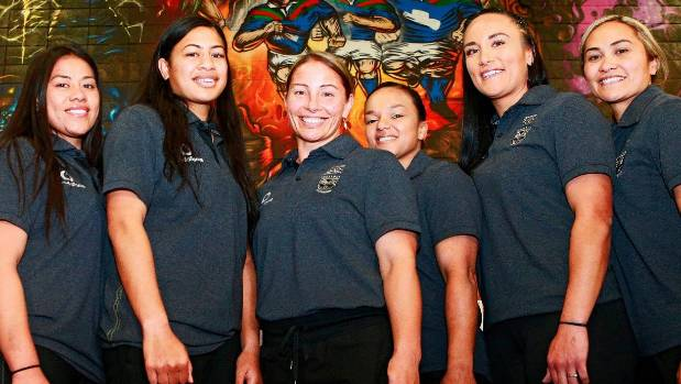 Lorina Papali'i, third from left, and some of her Warriors' team-mates at the squad announcement at Mt Smart.